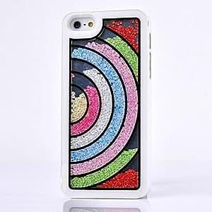 SHOUJIKE LUXURY Rhinestone Semicircle Rainbow Back Cover Case for iPhone 5/5S(Assorted Colors) , Black
