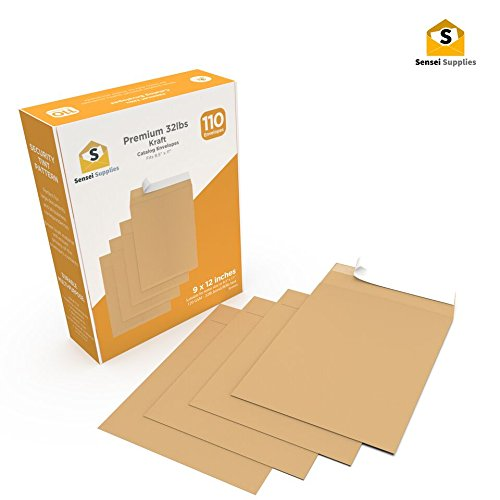 """Kraft Envelopes 9x12 - Golden Brown - for mailing catalogs, booklets, brochures, documents, Financial Reports and Any 8.5'' x 11"""" Inserts - W/Peel, Press & Self Seal - Premium 36lb (9x12, Kraft) by Sensei Supplies"""