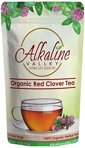 Organic Red Clover Tea - 100% Alkaline - 15 Unbleached/Chemical-Free Red Clover Tea Bags - Caffeine-Free, No GMO