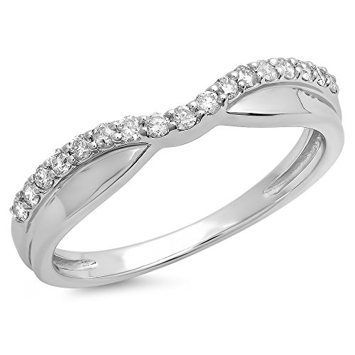 0.25 Carat (ctw) 14K White Diamond Wedding Stackable Contour Guard Band 1/4 CT, White Gold, Size 5.5 ()