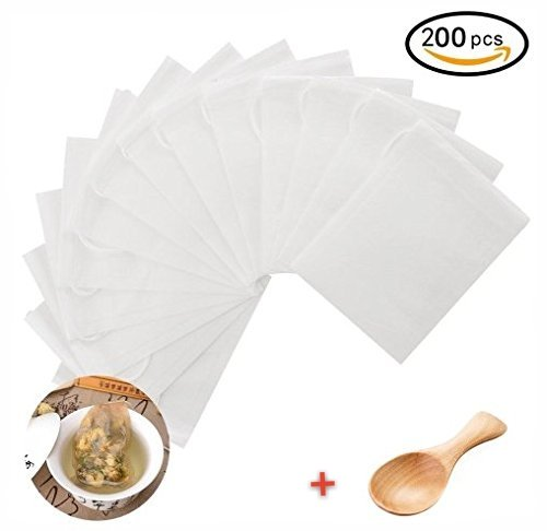 yasheng 200pcs Disposable Tea Bag Filter Paper Empty Tea Pouch Bags for Loose Leaf Tea Powder (Mesh Tea Bag)
