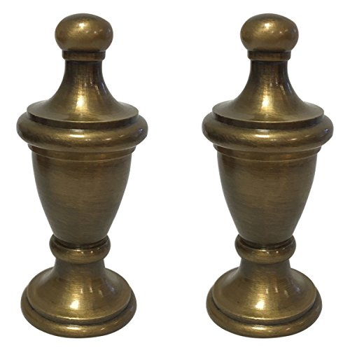 Royal Designs Simple Vase Design Lamp Finial with Antique Brass Finish - Set of ()