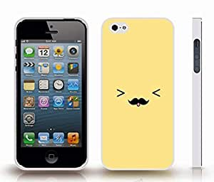 Case For Sam Sung Galaxy S4 I9500 Cover with Cute Mustache Tongue Out Face Animated Design , Snap-on Cover, Hard Carrying Case (White)