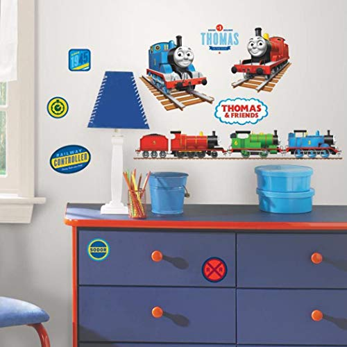 33 Piece Kids Boys Blue Green Yellow Thomas The Tank Engine Wall Decals Set, Train Themed Wall Stickers Peel Stick, Animated Caboose Toys Fun Decorative Graphic Mural Art, Vinyl