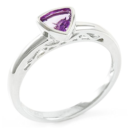 Designer Trilliant Ring (Glamouresq Sterling Silver 6mm Trilliant Cut Natural Amethyst Women's Ring, Size 8)