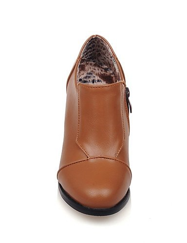 GGX/ Damenschuhe-High Heels-Kleid-Kunstleder-Blockabsatz-Absätze / Rundeschuh-Schwarz / Gelb / Beige black-us10.5 / eu42 / uk8.5 / cn43