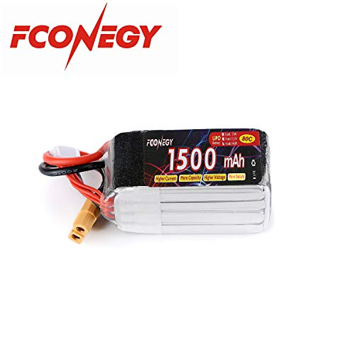 Fconegy 4S 14.8V 1500mAh 80C Lipo Battery Pack with XT60 Plug for FPV Racing/Drone/Quadcopter/Rc Airplane