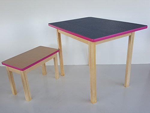 Deluxe LEGO table - Large grey LEGO table with matching bench and pink trim - Made in USA Custom Height Activity Table