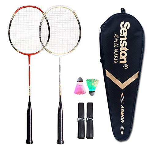 Senston - 2 Player Badminton Racket Set Double Rackets - Including 1 Badminton Bag/2 Rackets/2 LED Badminton /2 Grip -