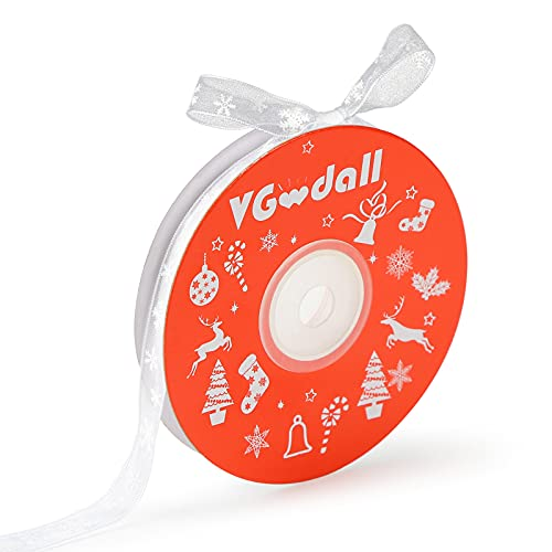 VGOODALL Christmas Ribbons,3/8 Inch by 25 Yards White Snowflake Printing Ribbon for Gift Wrapping,Holiday Decorations