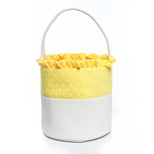 Easter Bucket Dot Easter Basket for Children Egg Hunt (Yellow) (Easter Pail)