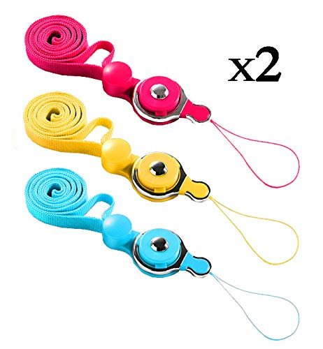 TheHonestBill Bundle of 6 pcs Detachable Neck Strap Band Lanyard for Cell Phone Camera iPod mp3 mp4 USB Flash Drive ID Card Badge + Cleaning Cloth [in Retail Packaging] (Light Blue+Hot Red+Yellow) ()