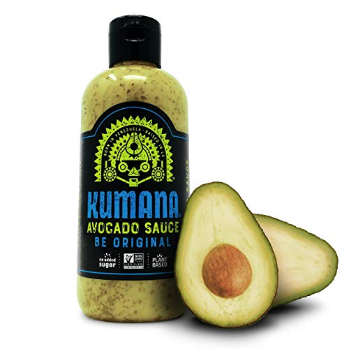 Kumana Avocado Sauce. A Savory Keto Friendly Hot Sauce made with Ripe Avocados and Chili Peppers. Ketogenic and Paleo. Sugar Free, Gluten Free and Low Carb. 13.1 Ounce Squeeze Bottle.
