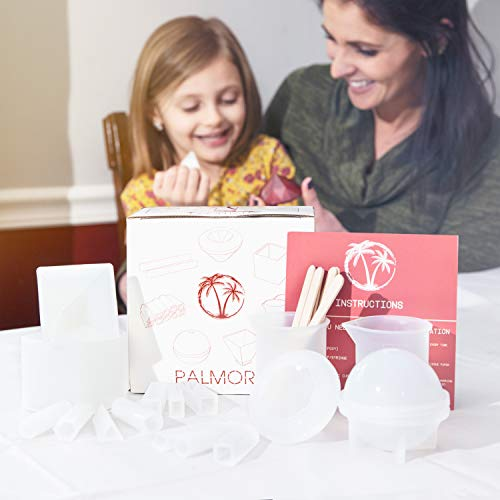 Palmora Resin Casting Molds | Premium Silicone Crystal Clear Epoxy Molds | Complete Resin Art Kit Including Cube, Cone, Diamond, Sphere, Pendant, 10 Sticks & 2 Measuring Cups | Lifetime Replacement