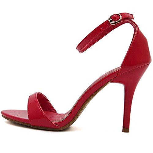 FANIMILA Mujer Moda Correa de Tobillo Tacon de Aguja Sandalias Punta Abierta Tacon Alto Delgado Zapatos Rojo