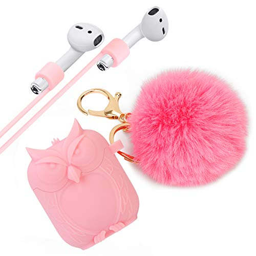 HERCINY Airpods Case, Anti-Impact & Anti-Scratch Airpods Silicone Skin Case Cover with Cute Fur Ball Keychain for Apple AirPods Charging Case - Pink (0.5 Ounce Keychain)