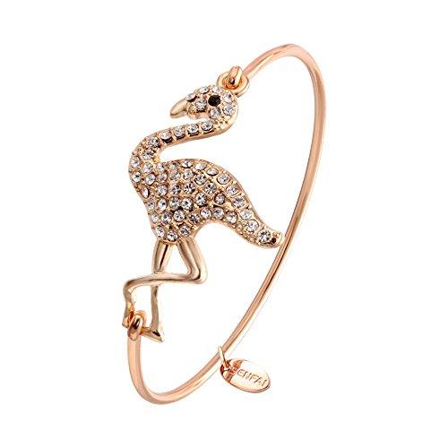SENFAI Full Rhinestone Flamingo Can Open Bangle for Women (Rose -