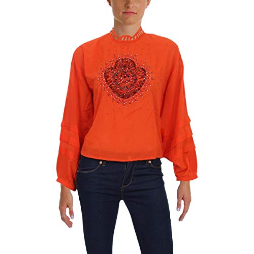 Free People Womens Heart of Gold Cotton Embellished Blouse Red XS