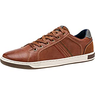 JOUSEN Men's Casual Shoes Retro Fashion Sneakers Business Casual Sneaker (10,Red Brown)