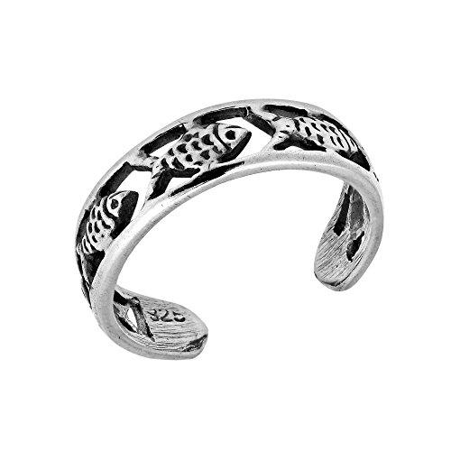 AeraVida Fish Harmony Band .925 Sterling Silver Toe Ring or Pinky Ring