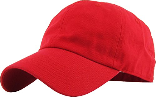 KB-LOW RED Classic Cotton Dad Hat Adjustable Plain Cap. Polo Style Low Profile (Unstructured) (Classic) Red Adjustable