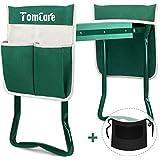 TomCare - Banco de jardín con 2 Grandes Bolsillos para Herramientas, Plegable, Resistente, para jardinería, Color Verde