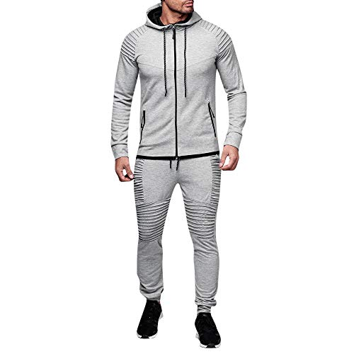Hoshell_Men Tops Men Hooded Athletic Tracksuit Full Zip Casual Jogging Gym Sweat Suits Activewear (3XL, Gray)