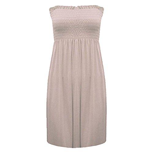 Vestido de verano corto sin tirantes piedra