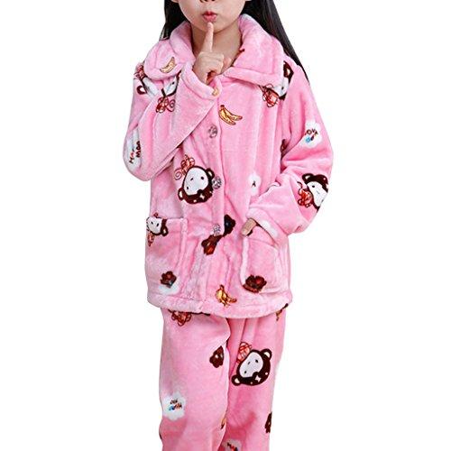 YISUMEI Girl's Pajamas Flannel Cartoon Banana Monkey Fashion Pink 5