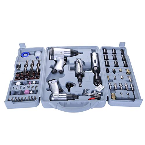 Rusilay 71 Pieces Of Pneumatic Tool Kit With Storage Box Impact Wrench Mould Air Tool Impact Wrench And Accessories Kit Toolkit Auto Repair Tool ()