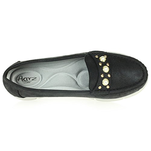 AARZ Loafer Comfort Flexible Womens Größe LONDON Sohle On Mokassins Büroarbeit Slip Ladies Schwarz Soft Schuhe UrUqRxTw