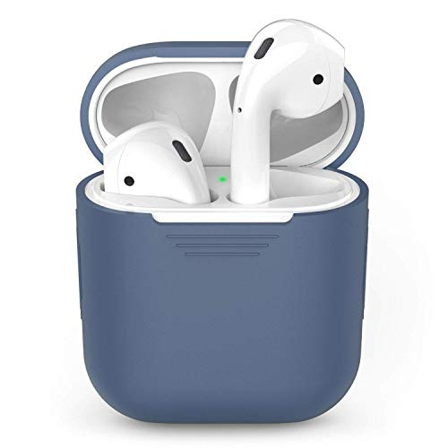 AhaStyle AirPods Case Cover Silicone Protective Skin Compatible with Apple AirPods 2 & 1 [Front LED Not Visible] (Navy Blue)