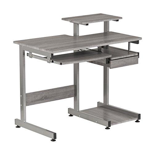 Techni Mobili RTA-2706A-GRY Complete Computer Workstation Desk, Gray, Grey -