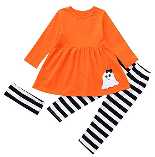 Toddler Baby Girls Halloween Ghost Dresses Long Sleeve Striped Pants Halloween Costume 3pcs Outfits Set (Orange, 3 Years)