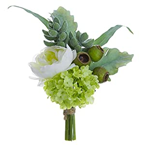 "9"" Ranunculus & Snowball Silk Flower Corsage -White/Green (Pack of 12) 53"