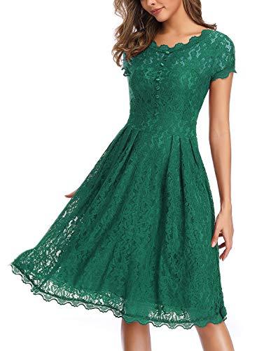 IHOT Women's Vintage Floral Lace Cap Sleeve Retro Swing Elegant Bridesmaid Dress