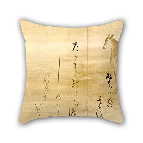 Oil Painting Honami Koetsu - CALLIGRAPHY OF POEMS From The Shinkokin-wakashu On Paper Decorated With Deer Pillowcase 16 X 16 Inches / 40 By 40 Cm For Indoor Couples Gril Friend Car Home Play Room