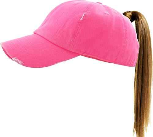 H-216-S78 Distressed Ponytail Baseball Cap Ponycap: Neon Pink