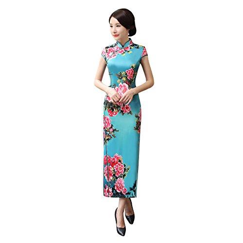 ACVIP Damen Kurzarm Langer Cheongsam Vintage Chinesische ...