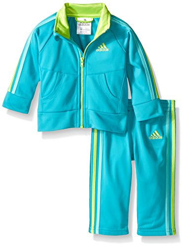 adidas Baby Girls' Tricot Zip Jacket and Pant Set, Teal, 24 Months
