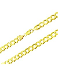 "Men's 14k Yellow Gold Solid 10mm Curb Cuban Chain Necklace, 24""- 30"""
