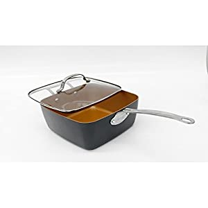 """Gotham Steel Ti-Cerama 9.5"""" Deep Square Pan With Lid, Frying Basket, Steamer Tray and Recipe Book - 5 Piece Set"""