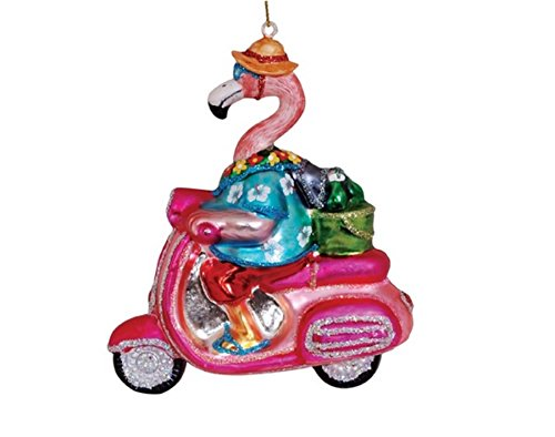 Flamingo on Pink Scooter Blown Glass Christmas Ornament