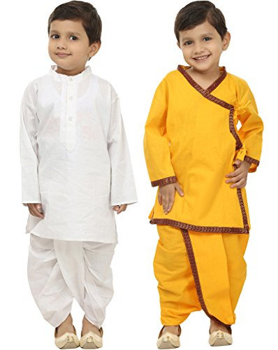 Focil Diwali Special Combo of white solid & yellow Mehroon Border Dhoti Kurta set for kids (Pack of 2) by FOCIL