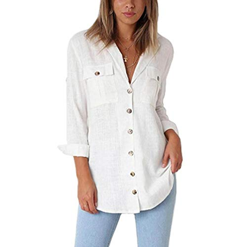 Longues Chemise Blanc de Dcontracts Sweatshirt Fantaisiez Ample pour Longue Coton Sweatshirt Manches Blouse Bouton de Femme xwZ0SIq