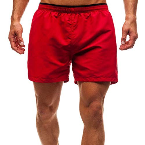 (NUWFOR Men Casual Splice Stripe Beach Work Casual Men Short Trouser Shorts Pants(Red,US:L Waist30.7-38.6