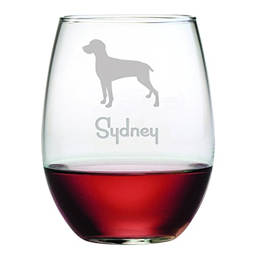 Personalized Dog Breed Stemless Wine Glasses (Set of Four) - Weimaraner