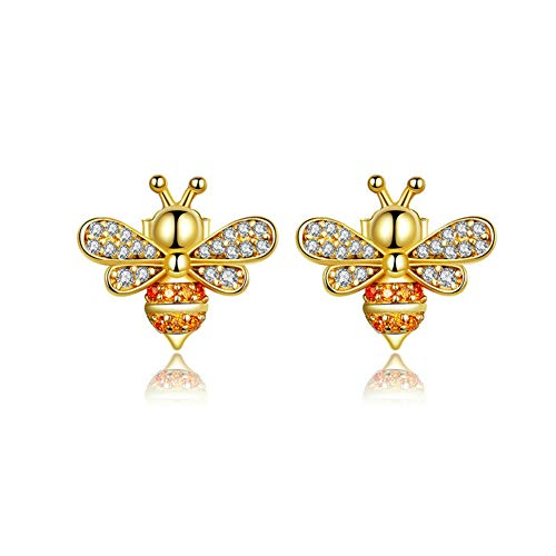 (XIEXIE Stud Earrings for Womens, 925 Sterling Silver Jewelry Bee Fashion Crystal Plated Gold Earring, Comes with Elegant Gift Box)