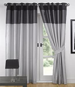 Silver Black Eyelet Curtains Faux Silk Vienna 66 39 39 X 90 39 39 Kitchen Home