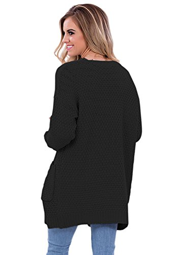 Front Sweater and Pocket Elegant LADY Women's Open Black ART Cardigan Stylish Long wI84qv